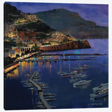 Amalfi Glow Canvas Print #MHM9} by Maher Morcos Canvas Art Print