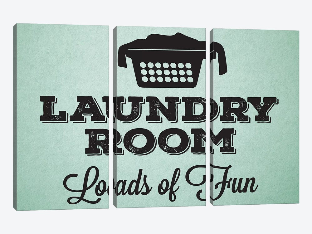 Laundry Mint I by Melody Hogan 3-piece Canvas Artwork