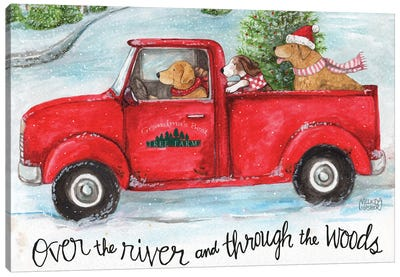 Red Truck With Dogs Christmas Woods Canvas Art Print