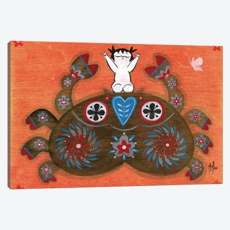 Folk Blessings - Crab Canvas Print #MHS100} by Martin Hsu Canvas Artwork