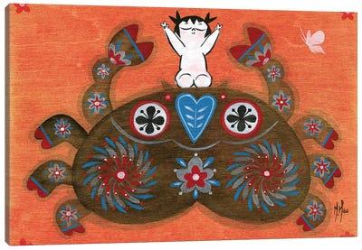 Folk Blessings - Crab Canvas Art Print