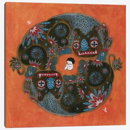 Folk Blessings - Lions Canvas Print #MHS105} by Martin Hsu Canvas Art Print