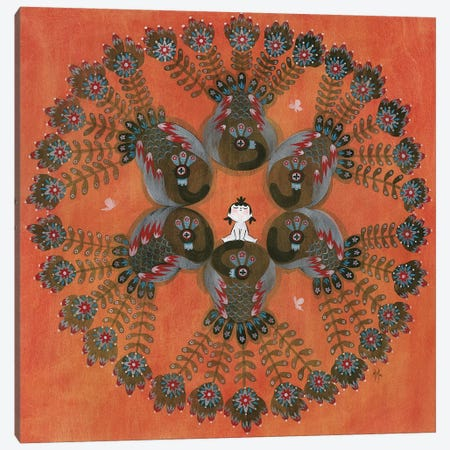 Folk Blessings - Peacocks 3-Piece Canvas #MHS106} by Martin Hsu Canvas Print