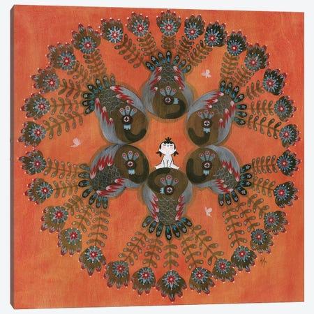 Folk Blessings - Peacocks Canvas Print #MHS106} by Martin Hsu Canvas Print