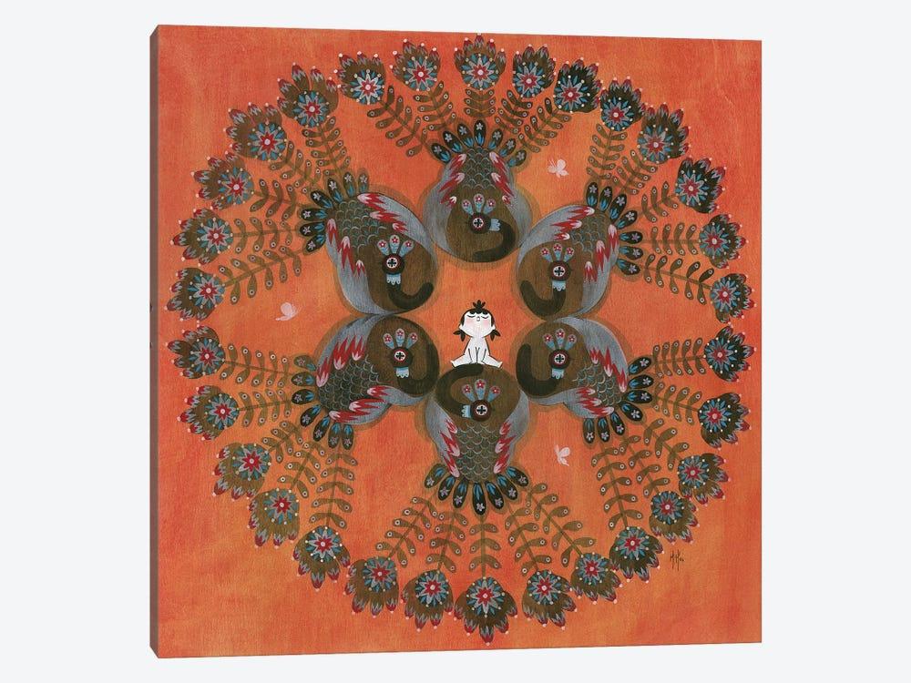 Folk Blessings - Peacocks by Martin Hsu 1-piece Canvas Art Print