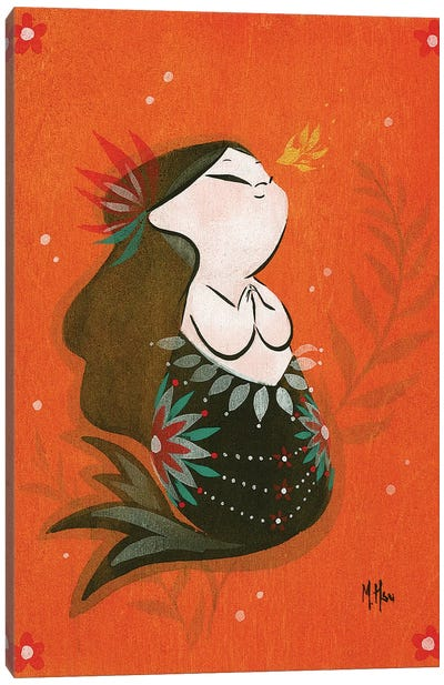 Goldfish Mermaid - Bubble Wish Canvas Art Print
