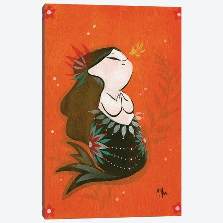 Goldfish Mermaid - Bubble Wish Canvas Print #MHS10} by Martin Hsu Art Print