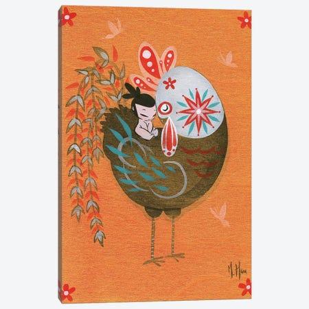 Folk Blessings - Rooster Cuddle Canvas Print #MHS110} by Martin Hsu Canvas Print
