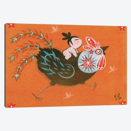 Folk Blessings - Rooster Run Canvas Print #MHS111} by Martin Hsu Art Print