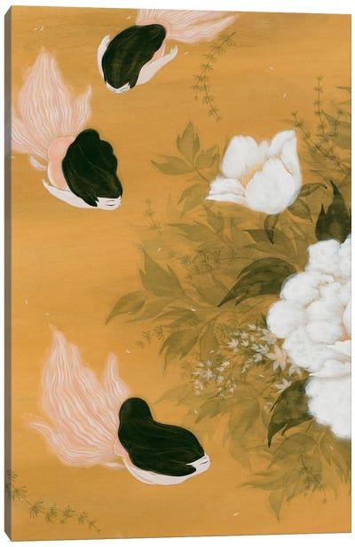 Goldfish Mermaid - Peony And Ballerinas I Canvas Art Print