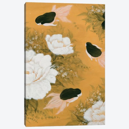 Goldfish Mermaid - Peony And Ballerinas II Canvas Print #MHS115} by Martin Hsu Canvas Artwork