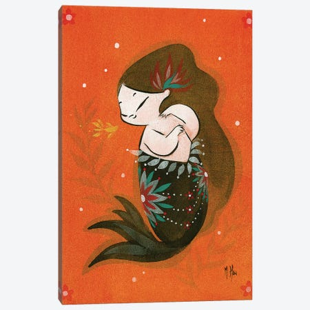 Goldfish Mermaid - Bubble Kiss Canvas Print #MHS11} by Martin Hsu Art Print
