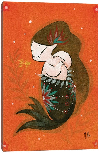 Goldfish Mermaid - Bubble Kiss Canvas Art Print