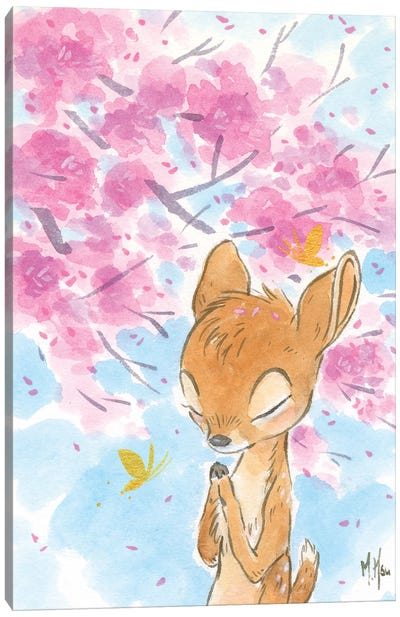 Cherry Blossom Fawn Canvas Art Print