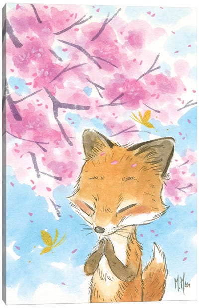 Cherry Blossom Fox Canvas Art Print