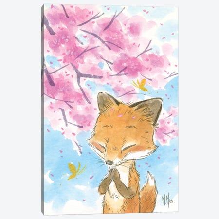 Cherry Blossom Fox Canvas Print #MHS129} by Martin Hsu Canvas Art