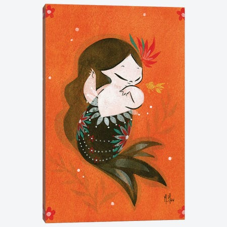Goldfish Mermaid - Bubble Splash Canvas Print #MHS12} by Martin Hsu Canvas Print