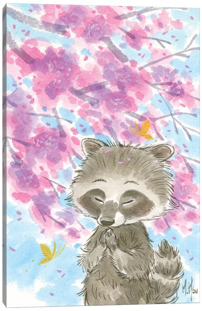 Cherry Blossom Raccoon Canvas Art Print
