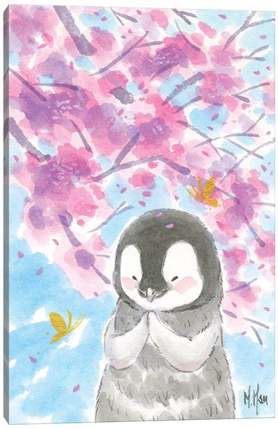 Cherry Blossom Penguin Canvas Art Print