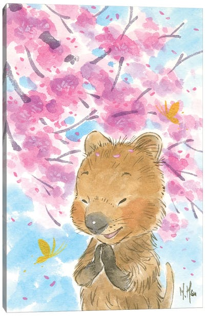 Cherry Blossom Quokka Canvas Art Print