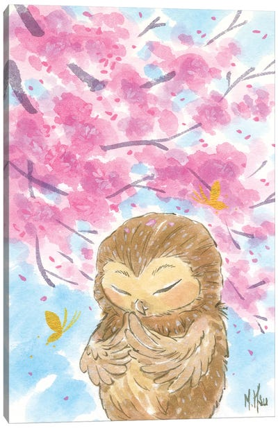 Cherry Blossom Owl Canvas Art Print