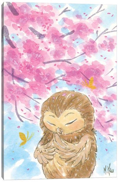 Cherry Blossom Owl Canvas Art Print