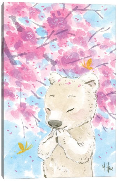 Cherry Blossom Polar Bear Canvas Art Print