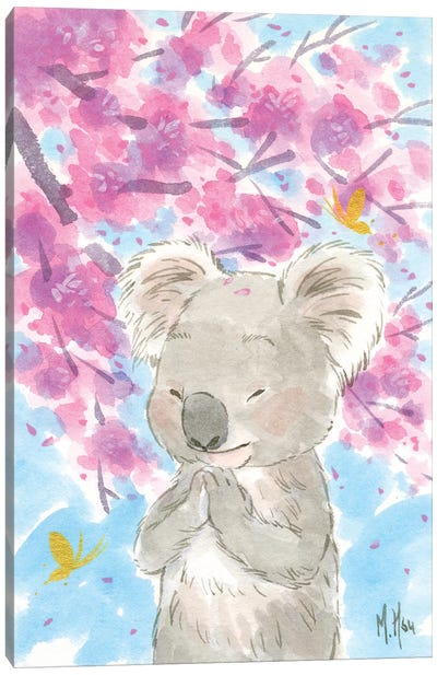 Cherry Blossom Koala Canvas Art Print