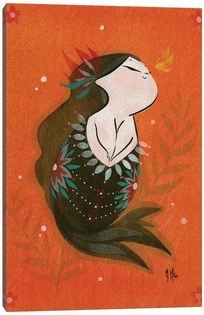 Goldfish Mermaid - Bubble Hope Canvas Art Print