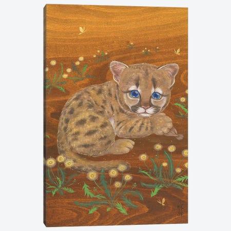 Cougar And Dandelions Canvas Print #MHS140} by Martin Hsu Canvas Art