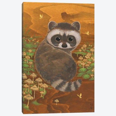 Raccoon And Mushrooms Canvas Print #MHS142} by Martin Hsu Canvas Artwork