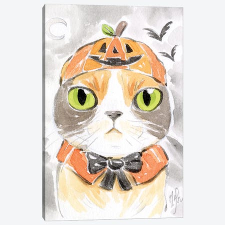 Cat - Pumpkin Canvas Print #MHS146} by Martin Hsu Canvas Print