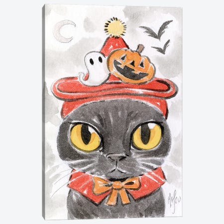 Cat - Spooky Hat Canvas Print #MHS148} by Martin Hsu Canvas Wall Art