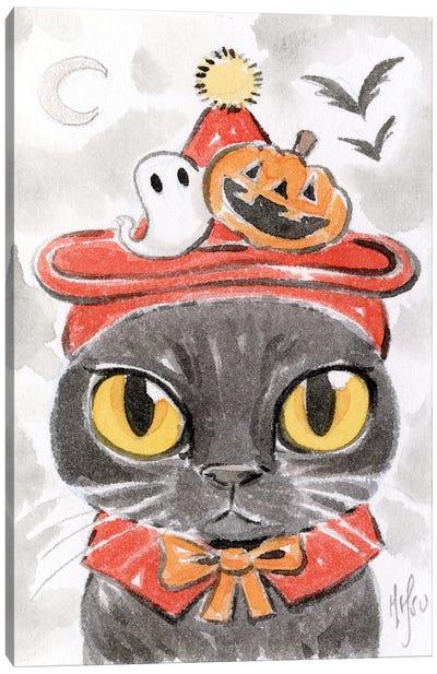 Cat - Spooky Hat Canvas Art Print