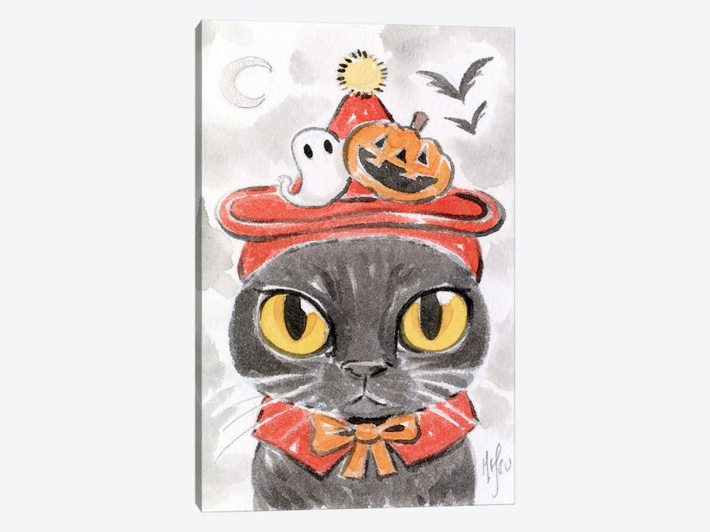 Cat - Spooky Hat by Martin Hsu 1-piece Canvas Art Print
