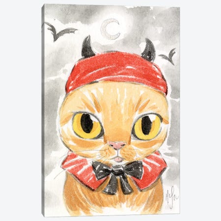 Cat - Devil Canvas Print #MHS149} by Martin Hsu Canvas Art