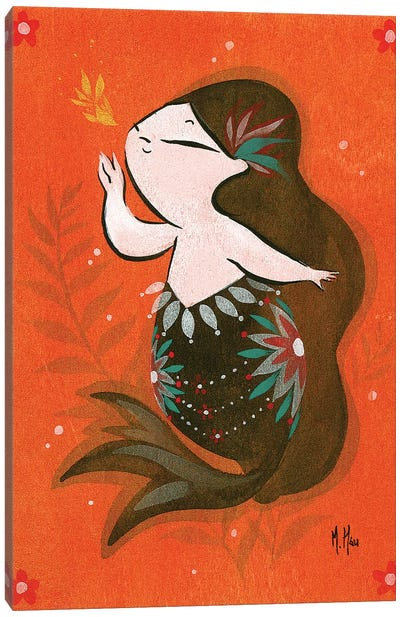 Goldfish Mermaid - Bubble Whisper Canvas Art Print