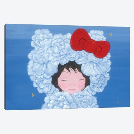Kitty In Love Canvas Print #MHS159} by Martin Hsu Art Print