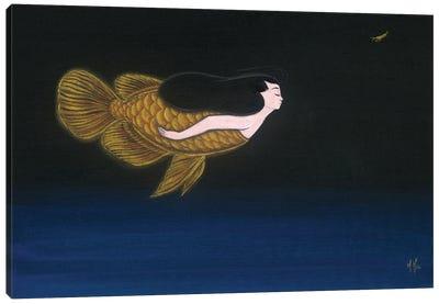 Gold Dragon Mermaid Canvas Art Print