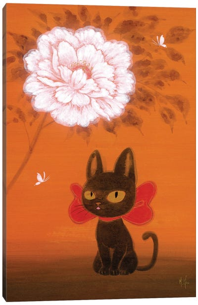 Black Kitty and Peony Canvas Art Print