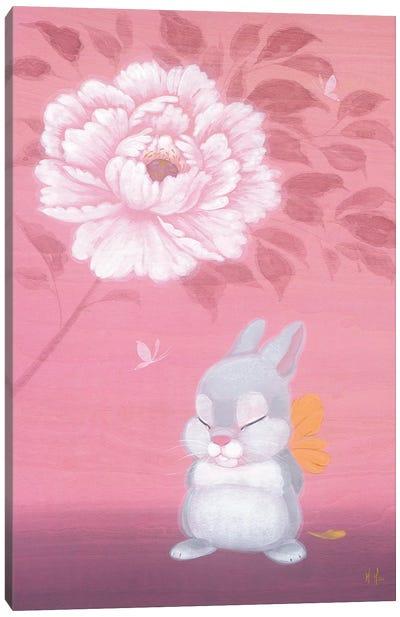 Bunny and Peony Canvas Art Print