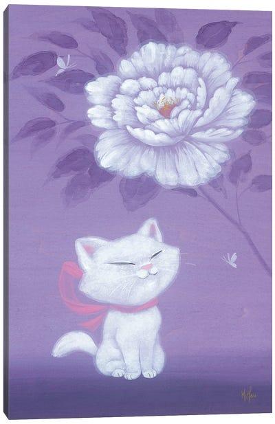 White Kitty and Peony Canvas Art Print