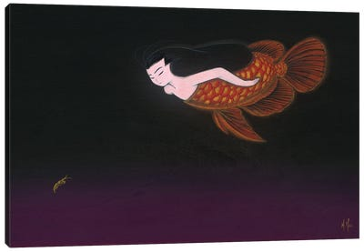 Red Dragon Mermaid Canvas Art Print