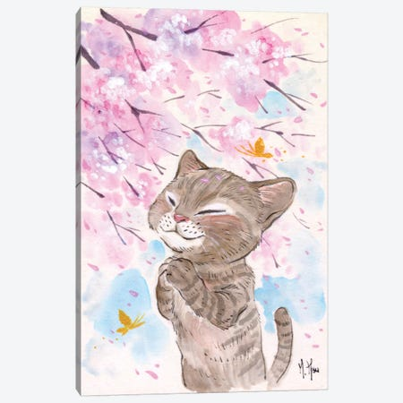 Cherry Blossom Wishes - Cat Canvas Print #MHS16} by Martin Hsu Canvas Art
