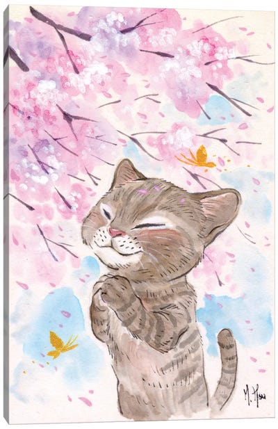 Cherry Blossom Wishes - Cat Canvas Art Print