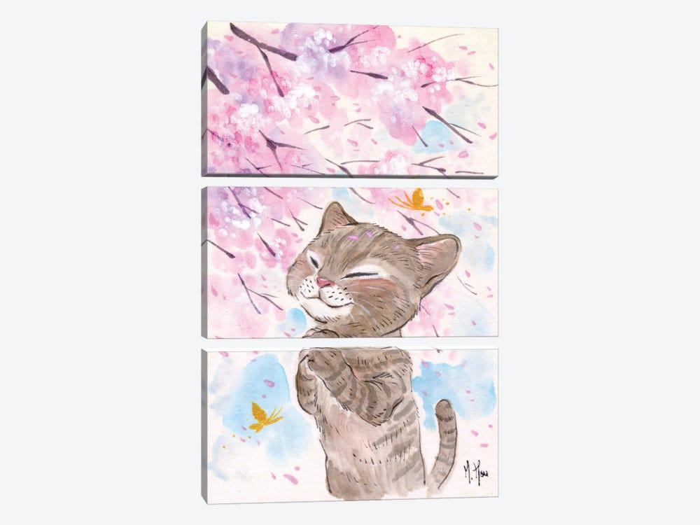 Cherry Blossom Wishes - Cat by Martin Hsu 3-piece Canvas Art