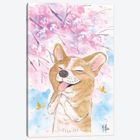 Cherry Blossom Wishes - Corgi Canvas Print #MHS17} by Martin Hsu Canvas Art