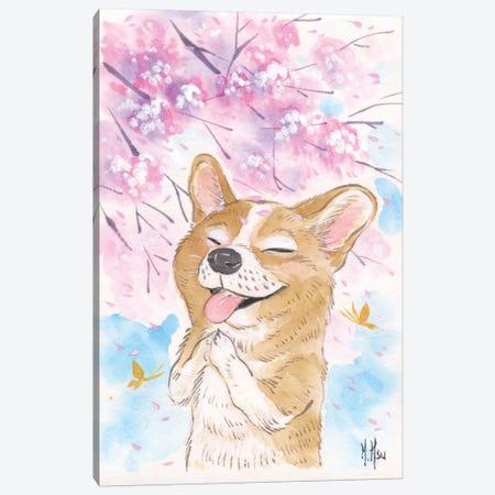 Cherry Blossom Wishes - Corgi Canvas Print #MHS17} by Martin Hsu Canvas Art