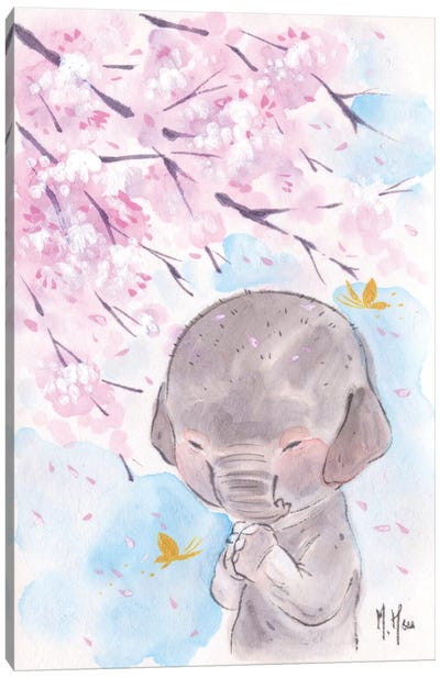 Cherry Blossom Wishes - Elephant Canvas Art Print