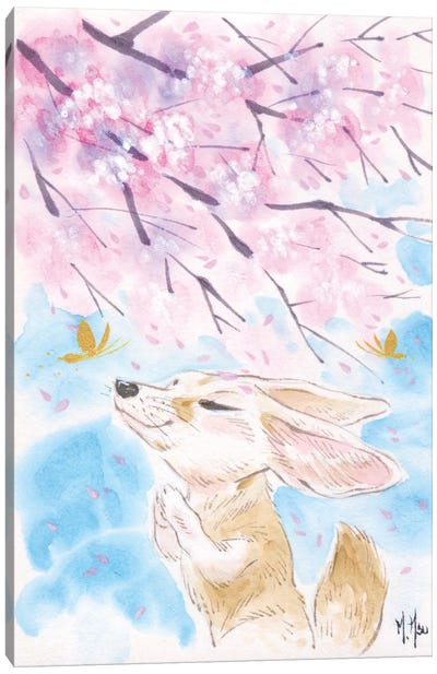 Cherry Blossom Wishes - Fox Canvas Art Print